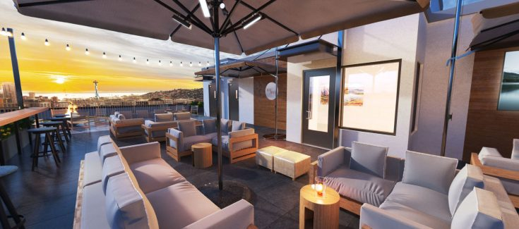 Rooftop Lounge with stunning city views | 101 Broadway in Seattle