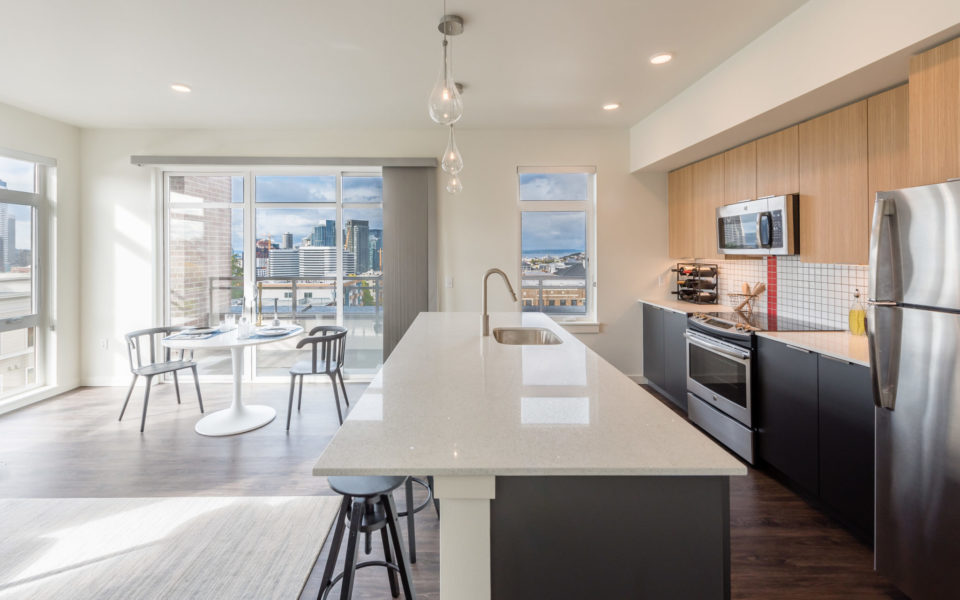 Open kitchen with a view | 101 Broadway Apartments Capitol Hil