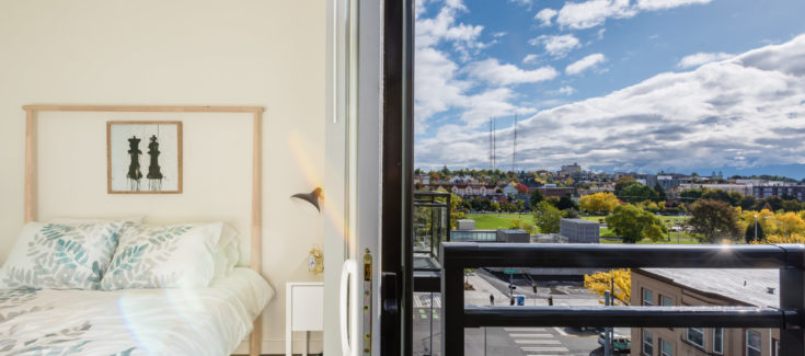 Bedroom with a beautiful view | 101 Broadway Apartments Capitol Hil