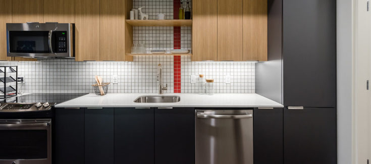 Modern kitchens at 101 Broadway Apartments Capitol Hil
