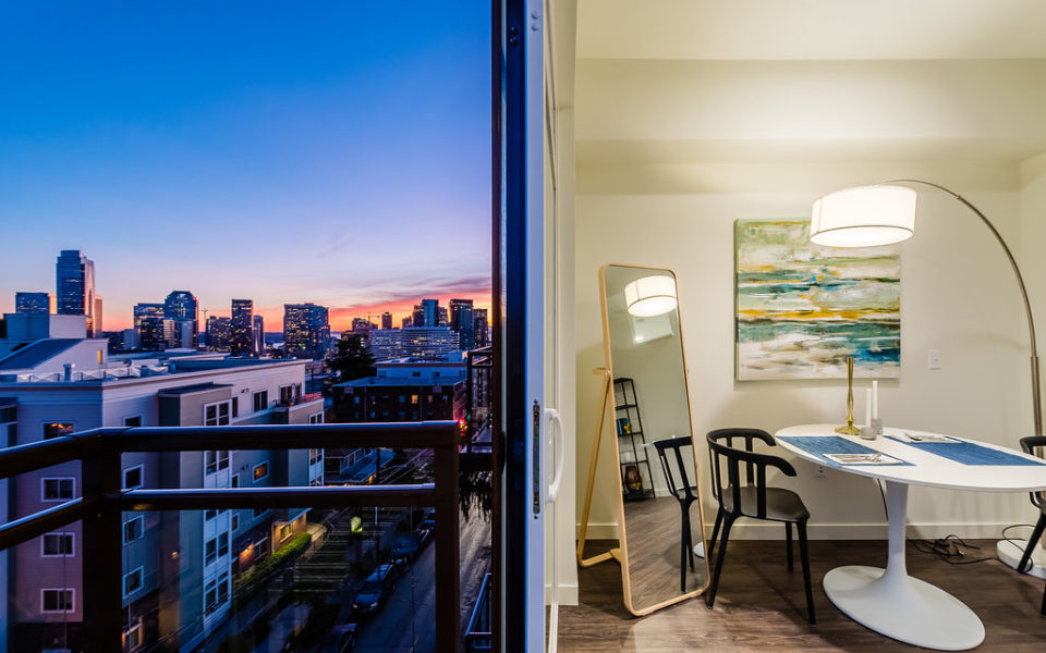 Gorgeous view at dusk from apartment balcony | 101 Broadway